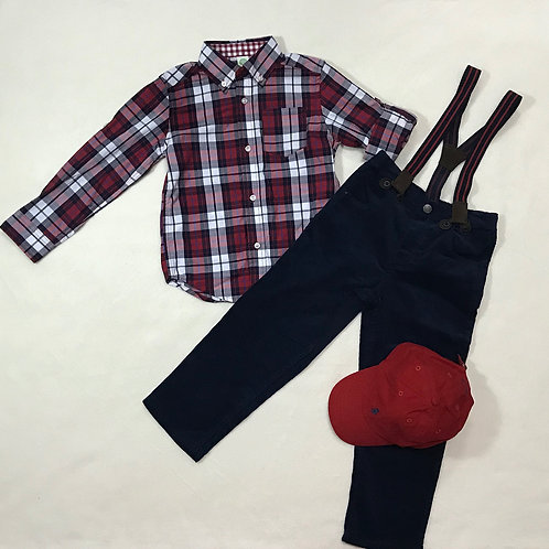 LITTLE ME Red & Blue Checked Outfit Set 4