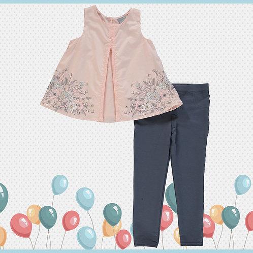 TAHARI Pink tunic & Grey Leggings