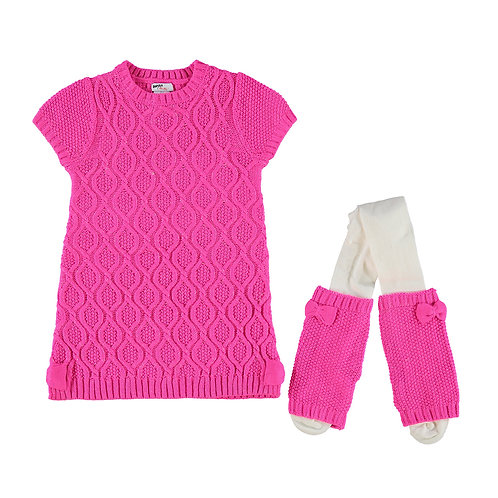 Pink Cable Knit Dress Outfit