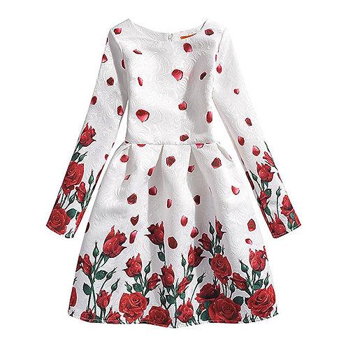 Rose Flowers Girl Long Sleeve Dress