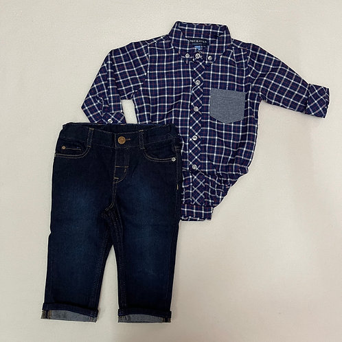 ANDY & EVAN Two Piece Navy Flannel Shirt & Trousers set