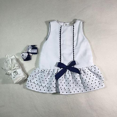 Baby girl white navy dress