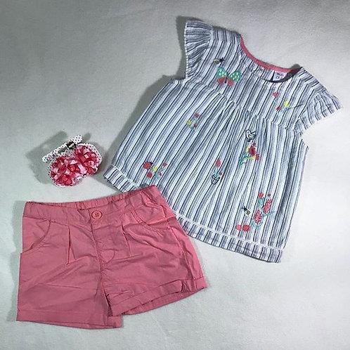 multi baby girl pink short set