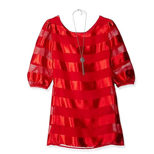 Amy Byer Big Girls Stripe a-Line Dress Red