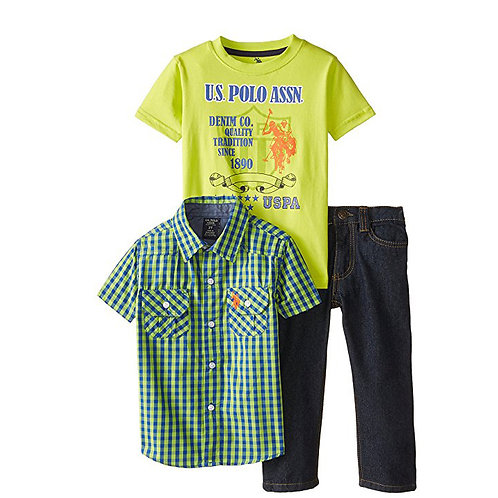 US POLO ASSOCIATION Boys 3 pieces green Set