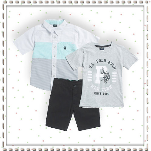 US POLO ASSOCIATION Boys 3 piece T Shirt & Short Set