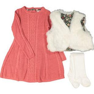 Cynthia Rowley Salmon Retro Cable Knit Dress Set