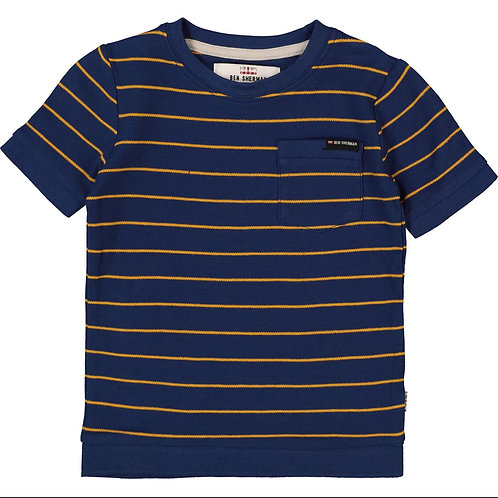 BEN SHERMAN Navy & Yellow Stripe T-Shirt