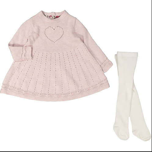 Cynthia Rowley Dusty Pink Heart Knitted Dress & Tights