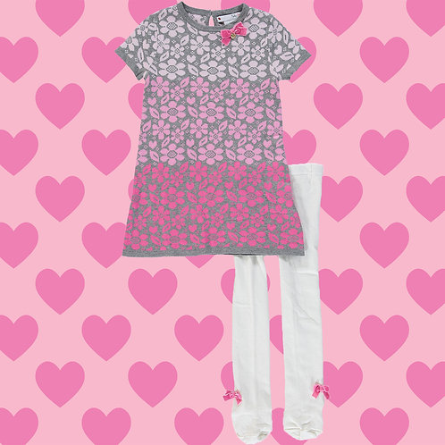 NULA BUG Pink & Grey Floral Knitted Dress & Tights