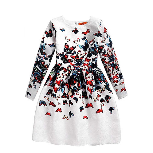 Butterfly Print Girl Long Sleeve Dress
