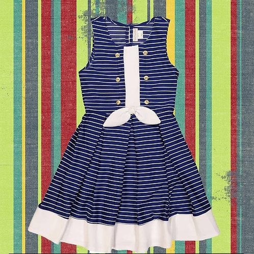 Navy & White Striped Dress Sweet heart rose