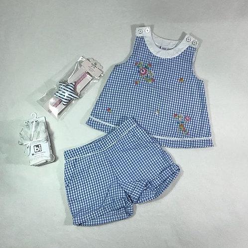 Flower blue girl short set