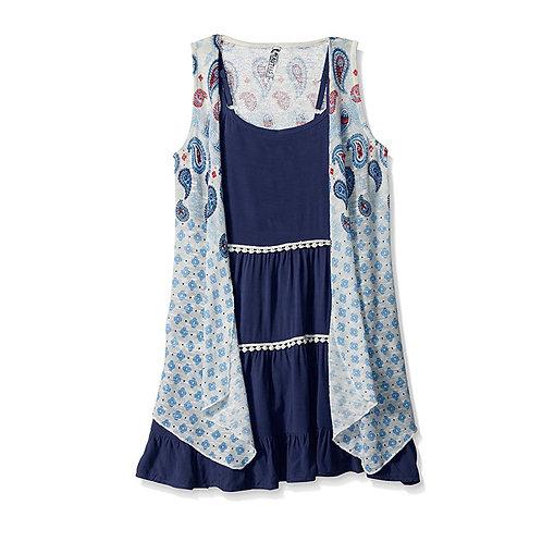 Beautees Girls 2 Piece Dress Navy