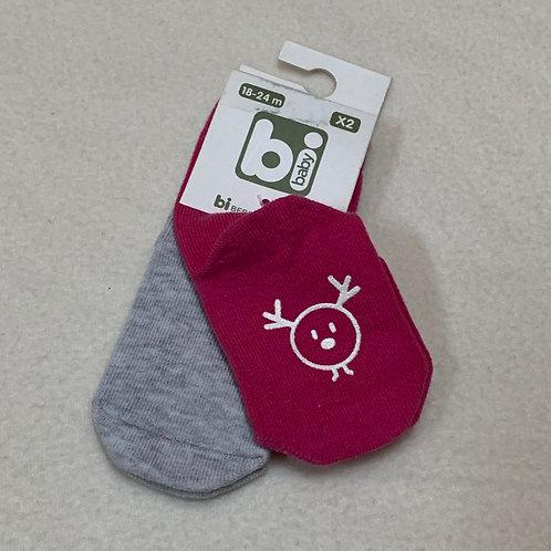 Baby Socks Dark Pink & Grey
