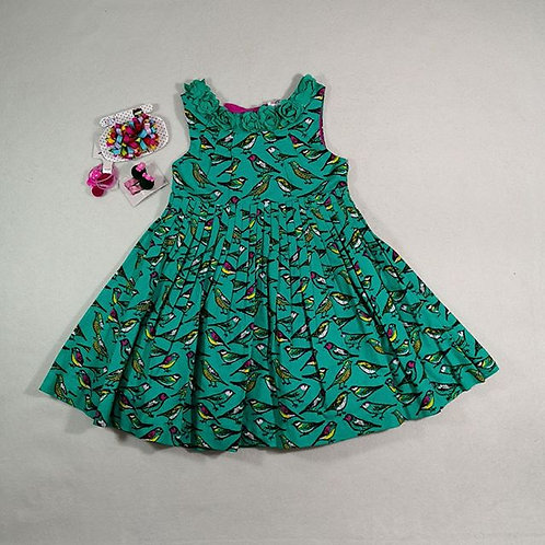 green bird baby girl dress