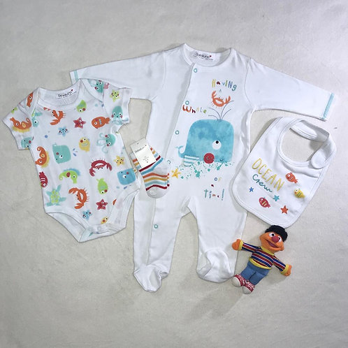 Ocean baby boy 4 pieces bodysuit set