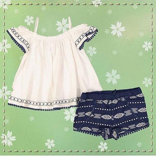 baby girl navy short set