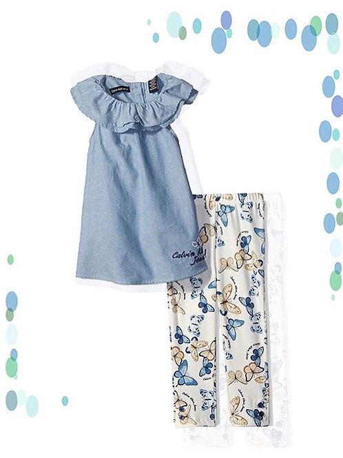 blue butterfly girls set