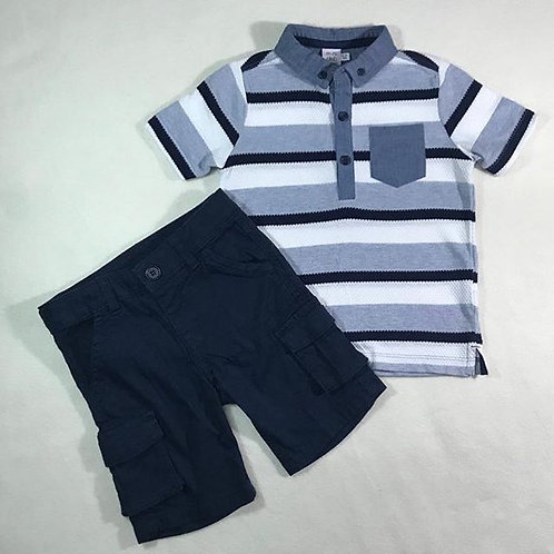 boys navy short set