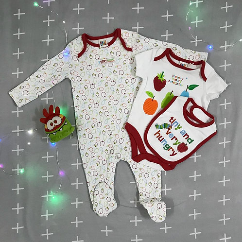 tiny & very hungry baby girl 3 pieces bodysuit set