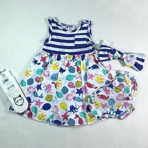 baby girl sea 3 pieces dress set