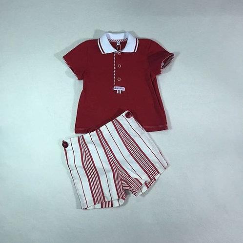 Red baby girl short set