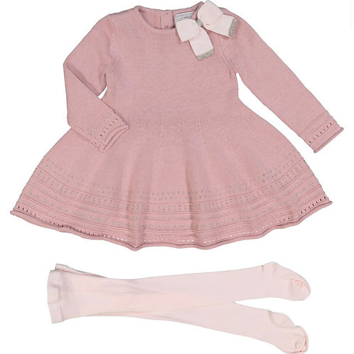 Catherine Malandrino Pink Dress & Tights Outfit