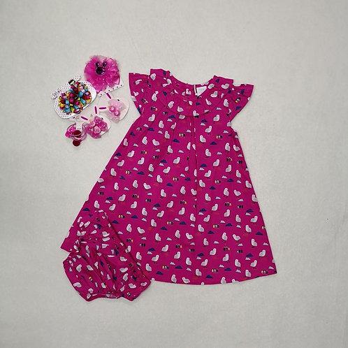 pink bird baby girl dress