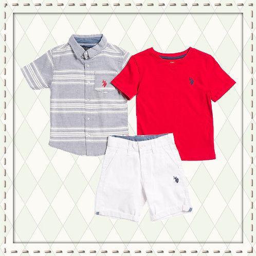 US POLO ASSOCIATION Boys 3 pieces red Set