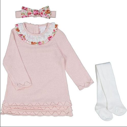 Shabby Chic Blush Jersey Dress & Tights