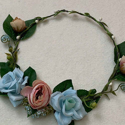 Girls Flower Headband blue & pink