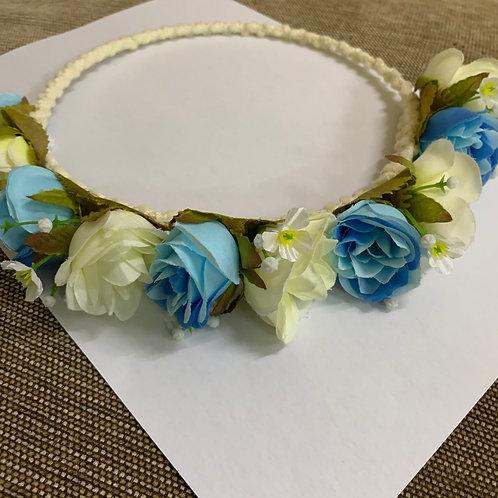 Blue flower head band