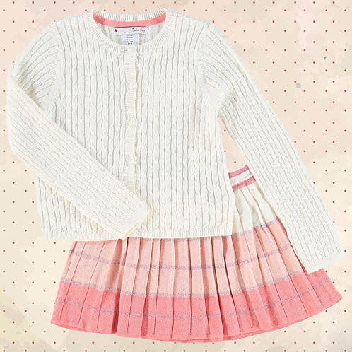 NULA BUG Cream Cardigan & Skirt