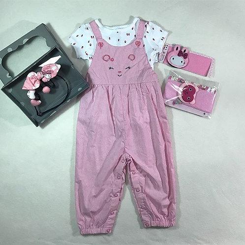 baby girl pink overall set