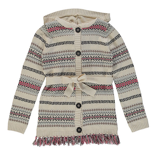 Fair Isle Belted Cardigan