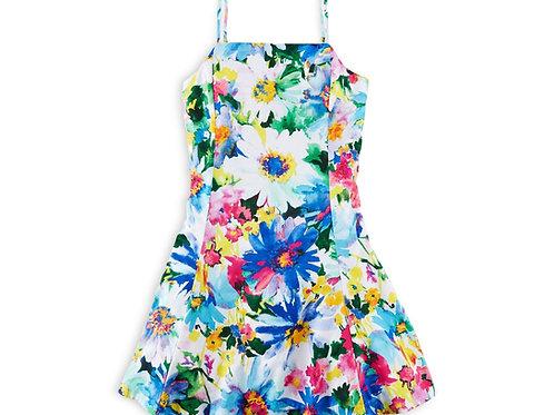 Girl's floral print dress, multi color
