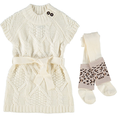 Cream Knit Jumper Dress & Tights Outfit
