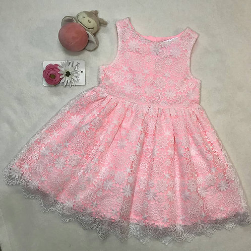 baby girl ivory lace pink dress