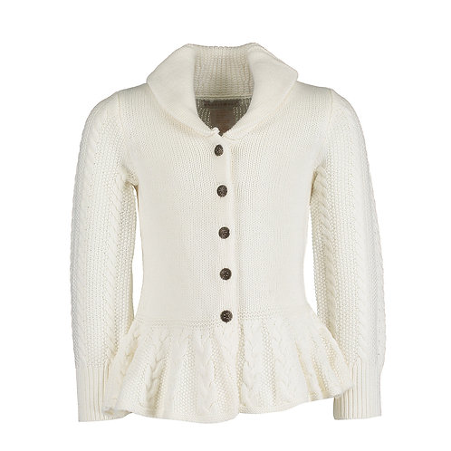 White Knitted Shawl Cardigan