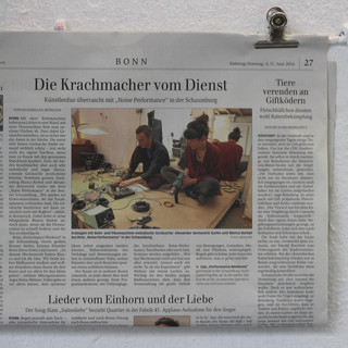 Article in the newspaper of Bonn about the Performance Weekend and the sound performance of Sasha Gurko