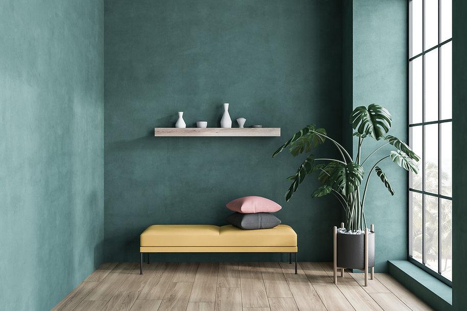 Minimalistic green living room interior