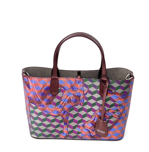 Loup Noir Handbag Mini Shopper Bordeaux Metallic