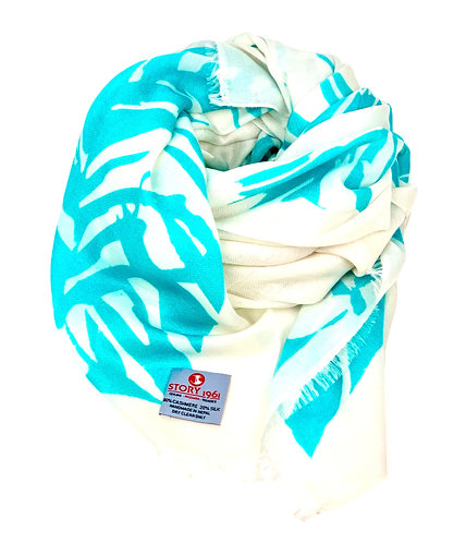 Waterpashmina Scarf Palm leaf White meets Turquoise