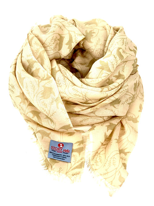Waterpashmina Scarf Flower Cream meets Camel