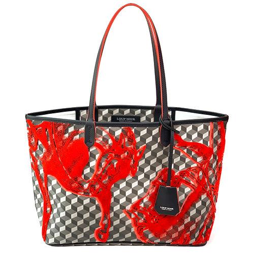 Loup Noir Handbag Shopper Black/Coral