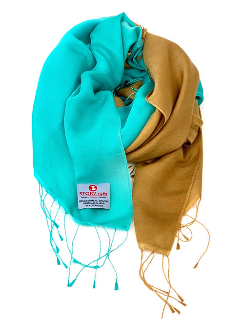 Waterpashmina Scarf Turquoise meets Tabac