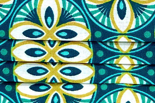 Mask African Style Green/White