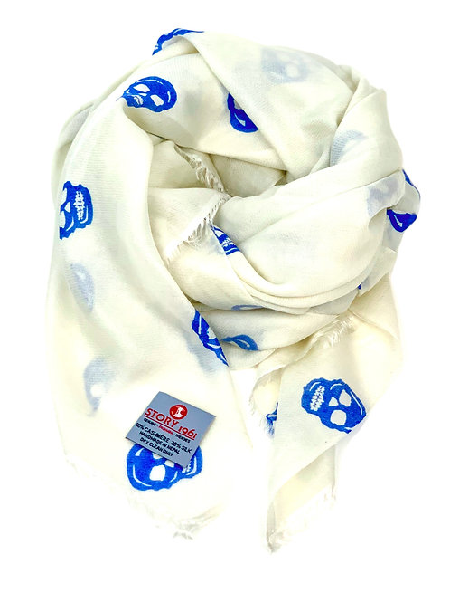 Waterpashmina Scarf Skull White meets Sky Blue