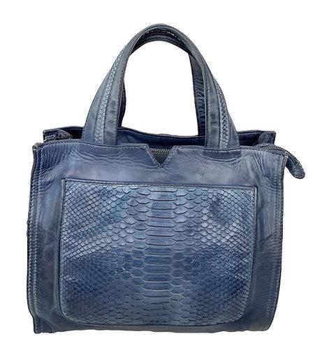 Reptile's House Handbag Phyton Navy Blue